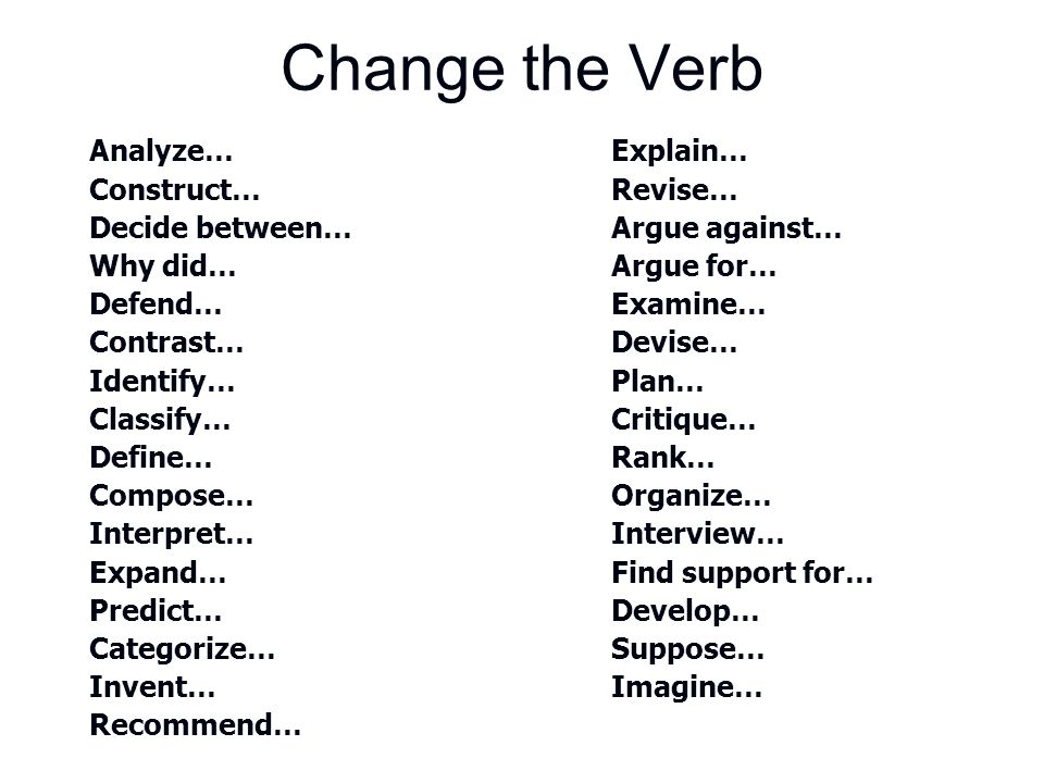 Change the Verb Analyze… Explain… Construct… Revise…