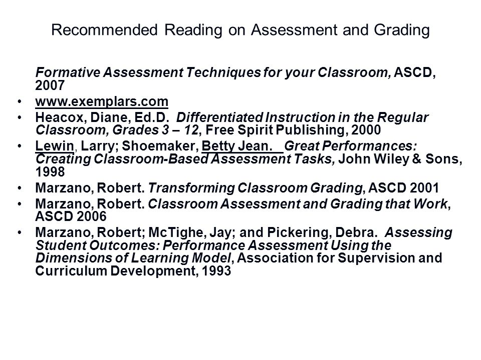 Recommended Reading on Assessment and Grading