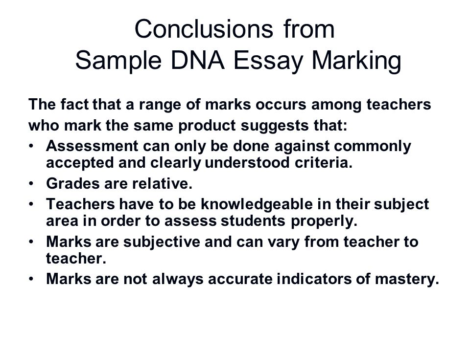 Conclusions from Sample DNA Essay Marking