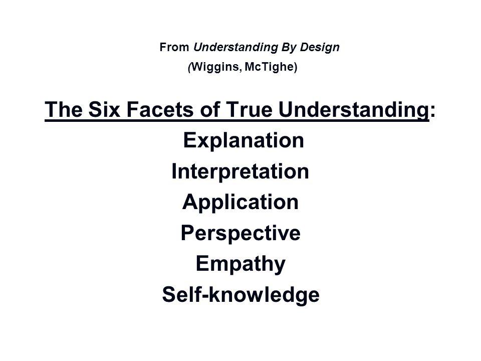 From Understanding By Design The Six Facets of True Understanding: