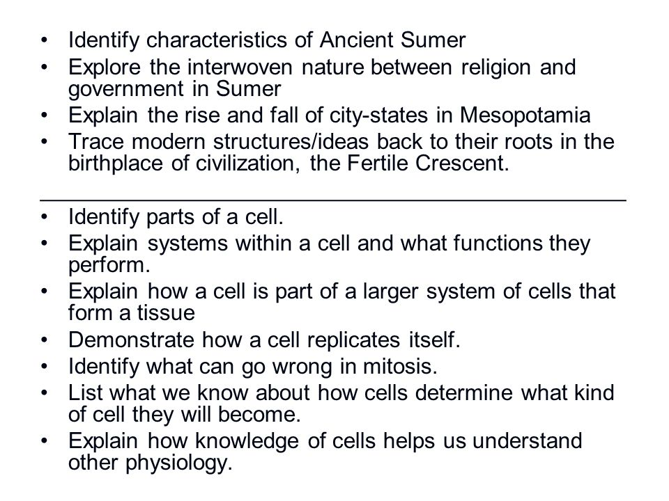 Identify characteristics of Ancient Sumer