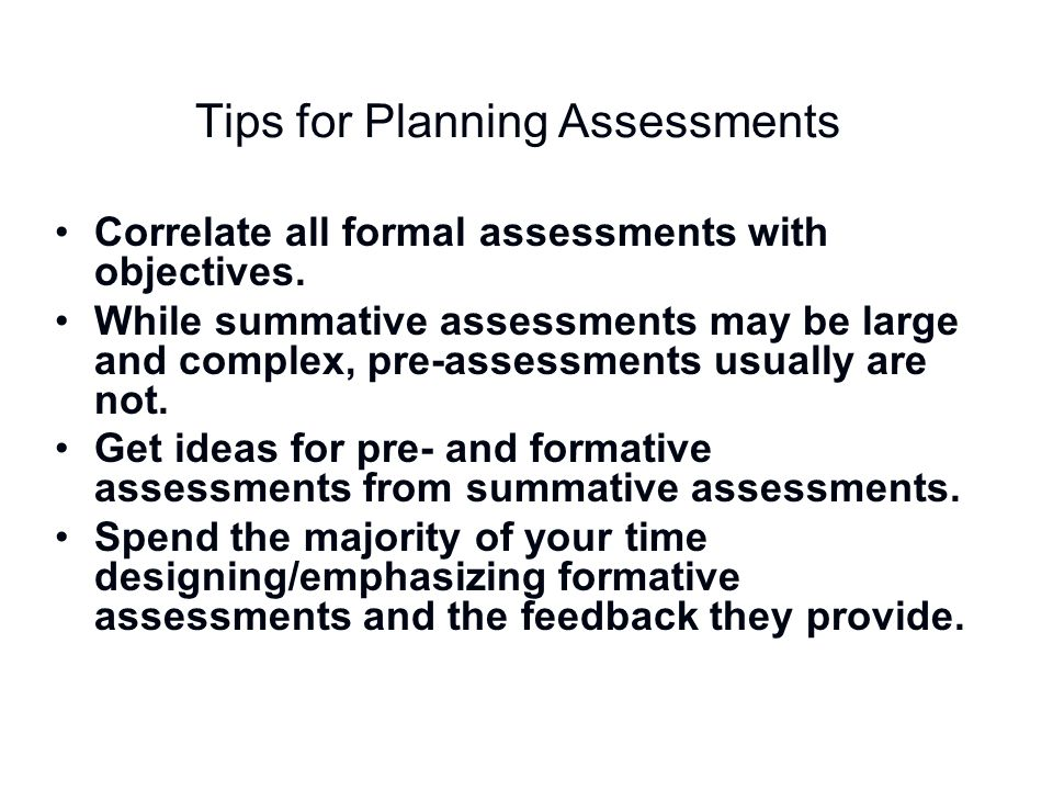 Tips for Planning Assessments