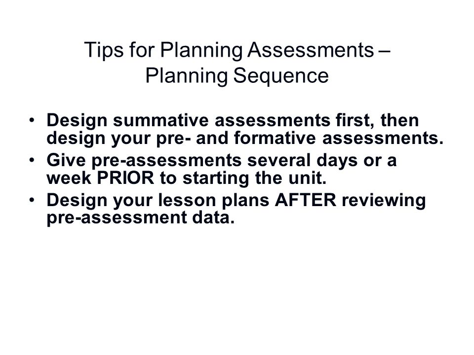 Tips for Planning Assessments – Planning Sequence
