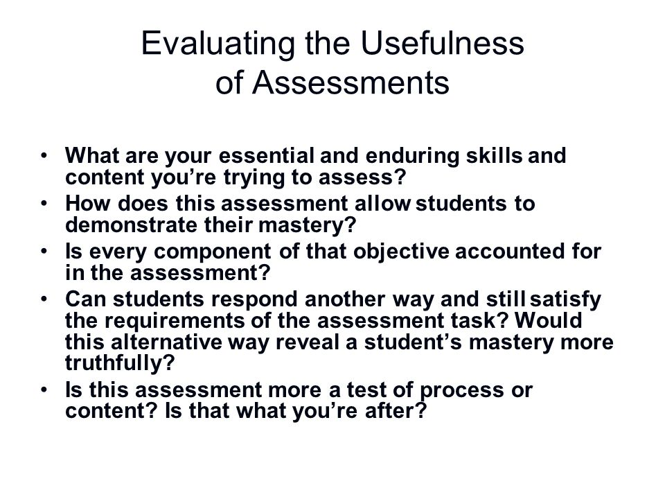Evaluating the Usefulness of Assessments