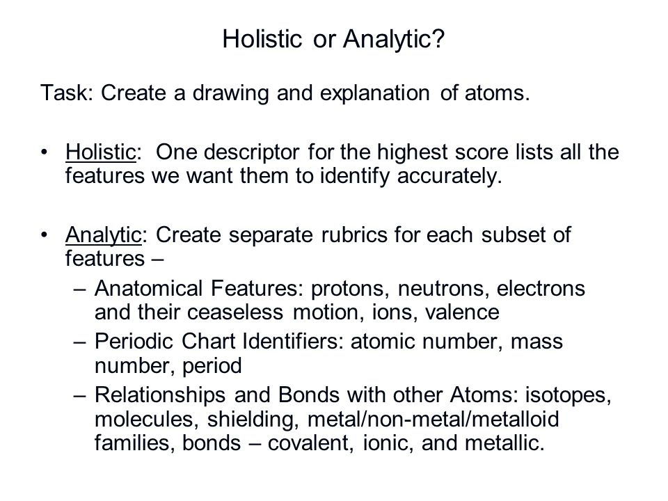 Holistic or Analytic Task: Create a drawing and explanation of atoms.