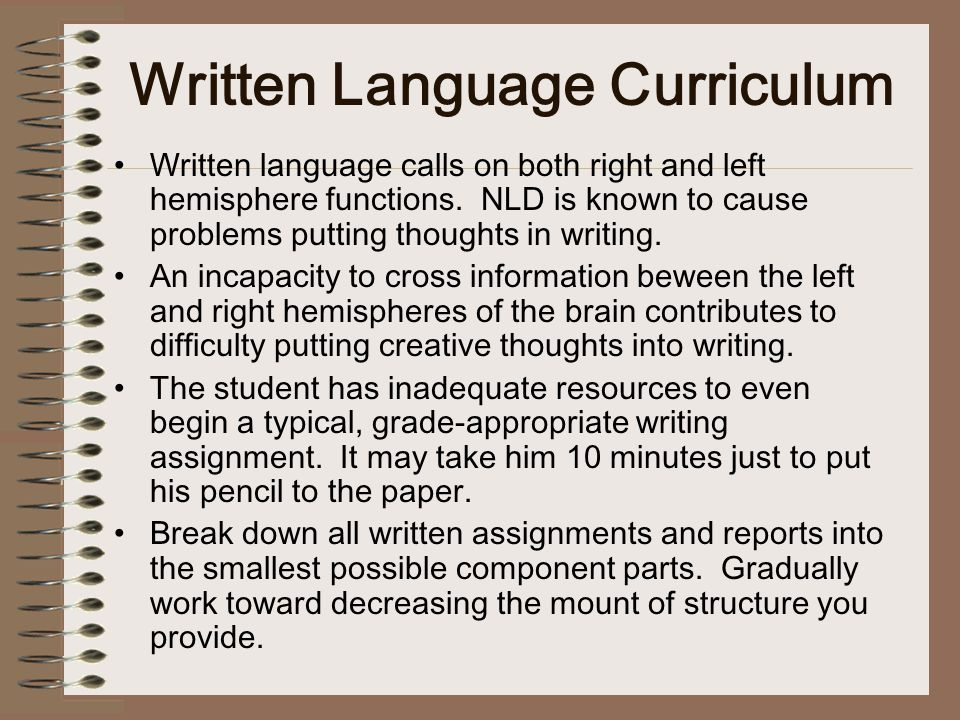 Written Language Curriculum