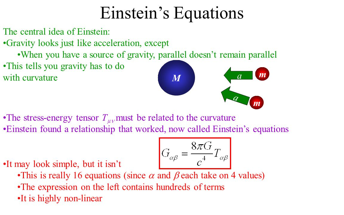 Einstein's Equations The central idea of Einstein: