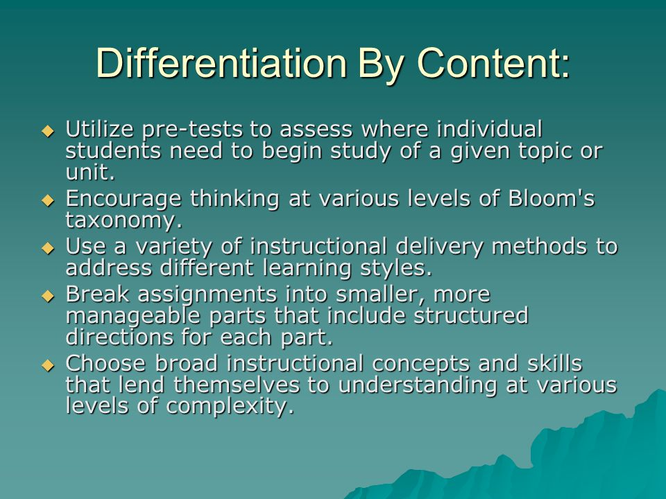 Differentiation By Content: