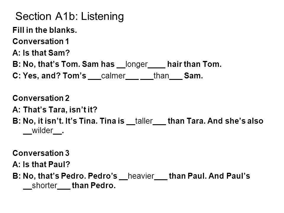 Section A1b: Listening