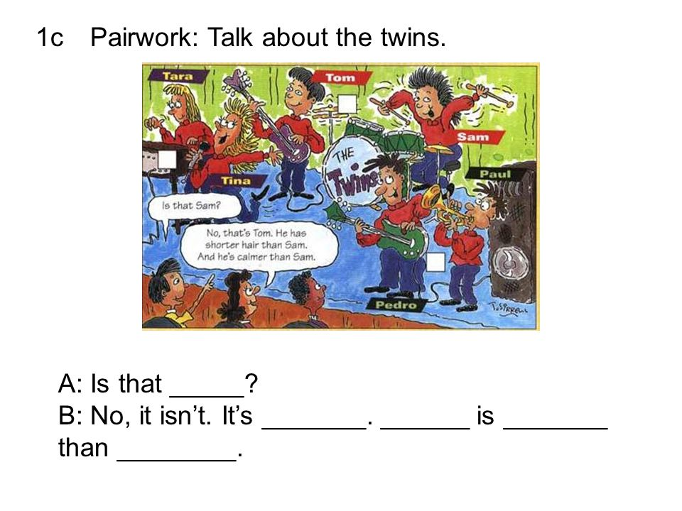 1c Pairwork: Talk about the twins.