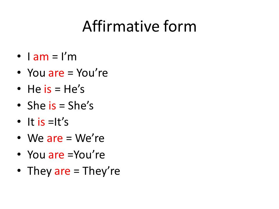 Affirmative form I am = I'm You are = You're He is = He's