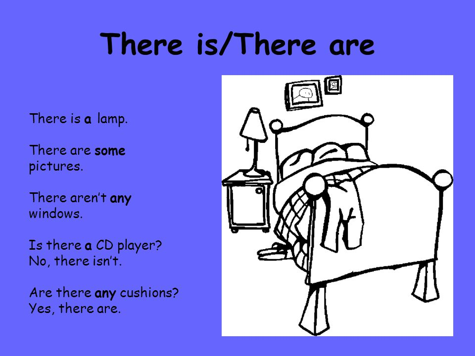 There is/There are There is a lamp. There are some pictures.