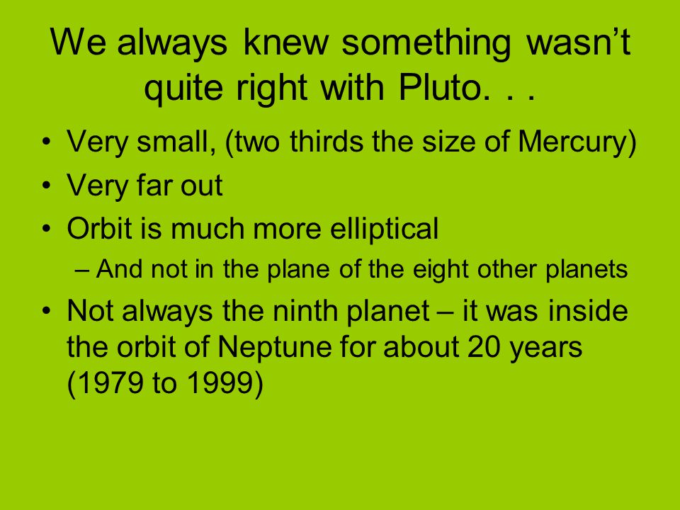 We always knew something wasn't quite right with Pluto. . .