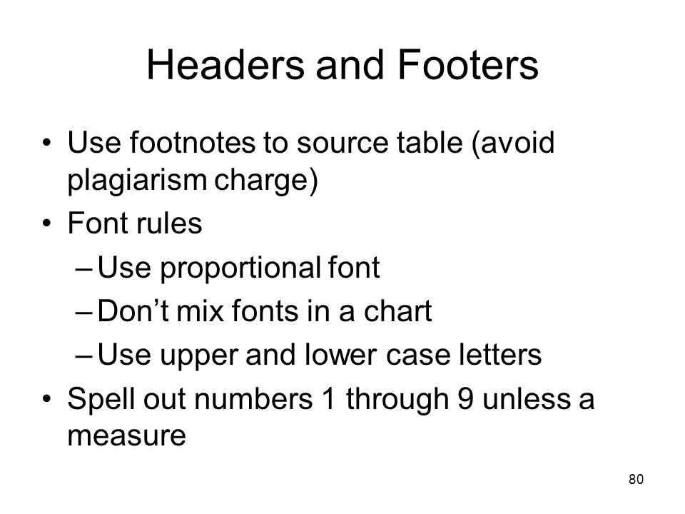 Headers and Footers Use footnotes to source table (avoid plagiarism charge) Font rules. Use proportional font.