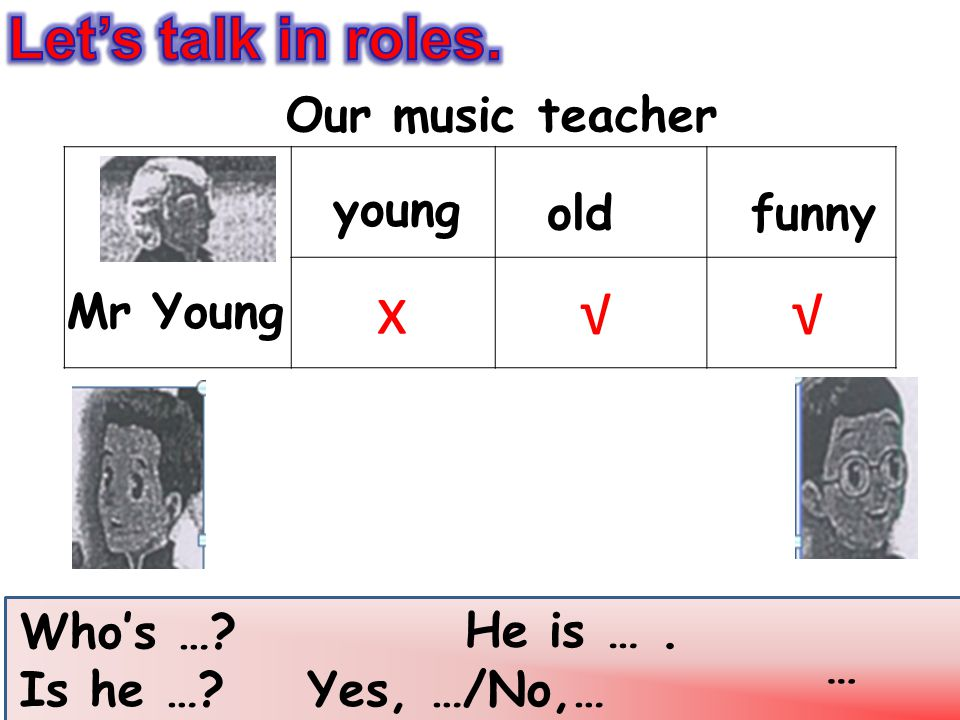 x √ √ Let's talk in roles. Our music teacher young old funny Mr Young