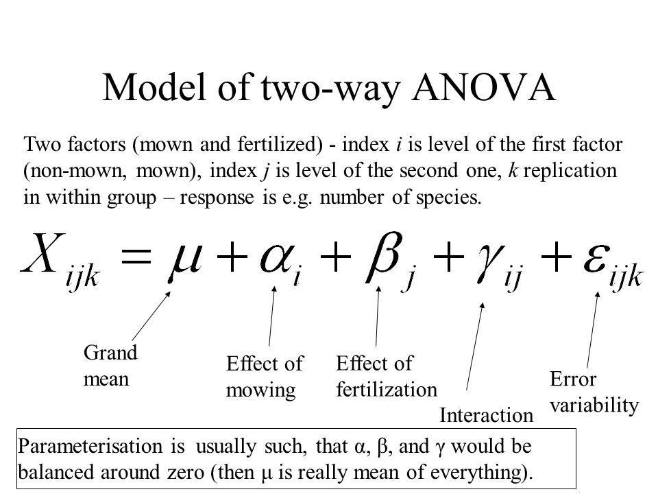 Model of two-way ANOVA