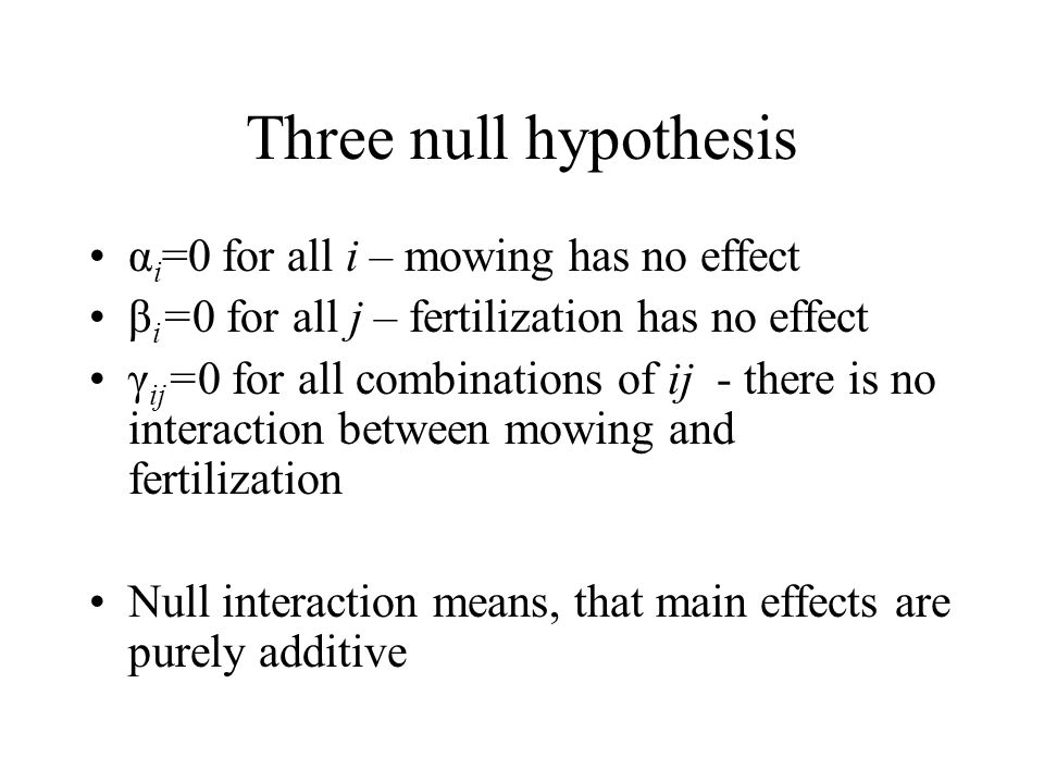 Three null hypothesis αi=0 for all i – mowing has no effect