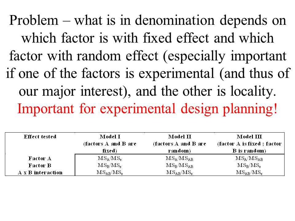 Problem – what is in denomination depends on which factor is with fixed effect and which factor with random effect (especially important if one of the factors is experimental (and thus of our major interest), and the other is locality.