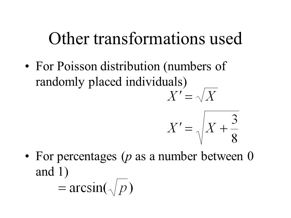 Other transformations used