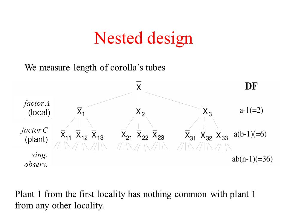 Nested design We measure length of corolla's tubes
