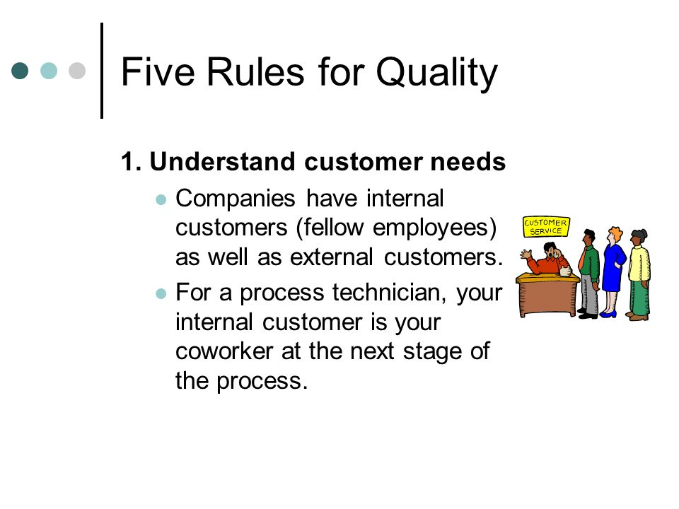 Five Rules for Quality 1. Understand customer needs