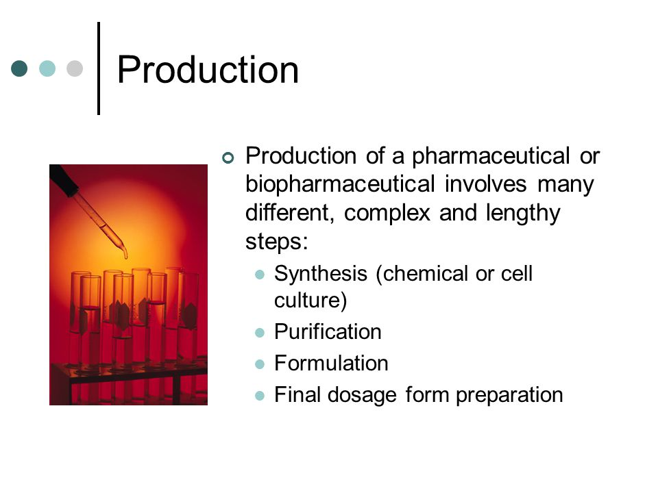 Production Production of a pharmaceutical or biopharmaceutical involves many different, complex and lengthy steps: