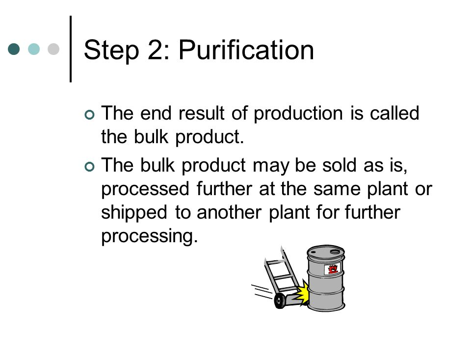 Step 2: Purification The end result of production is called the bulk product.