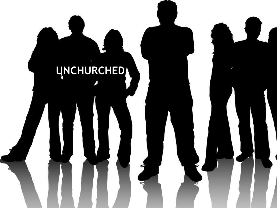 UNCHURCHED Many are unchurched (nearly half of 18-24 year olds, 36% of 25-34 year-olds) --Barna research.