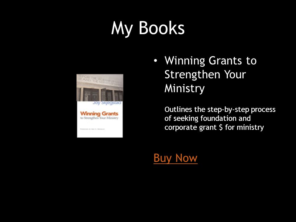 My Books Winning Grants to Strengthen Your Ministry Buy Now
