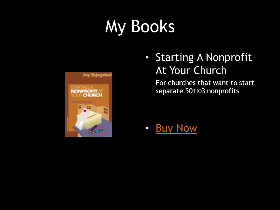 My Books Starting A Nonprofit At Your Church Buy Now
