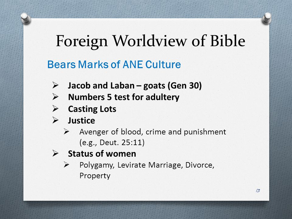 Foreign Worldview of Bible