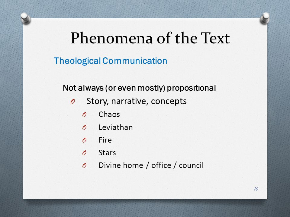 Phenomena of the Text Theological Communication
