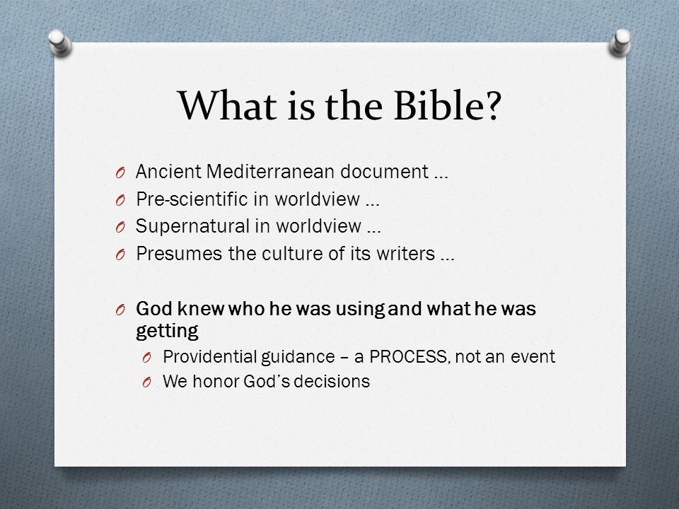 What is the Bible Ancient Mediterranean document …