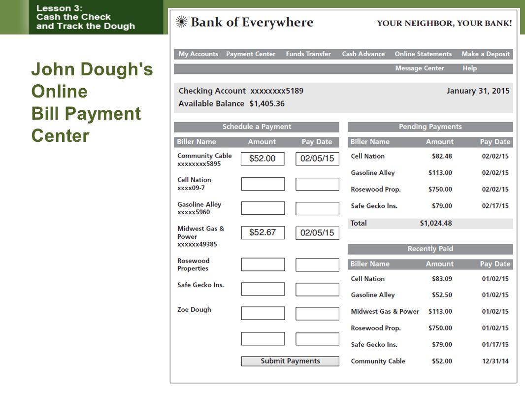 John Dough s Online Bill Payment Center