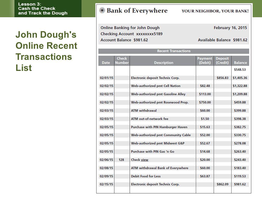 John Dough s Online Recent Transactions List
