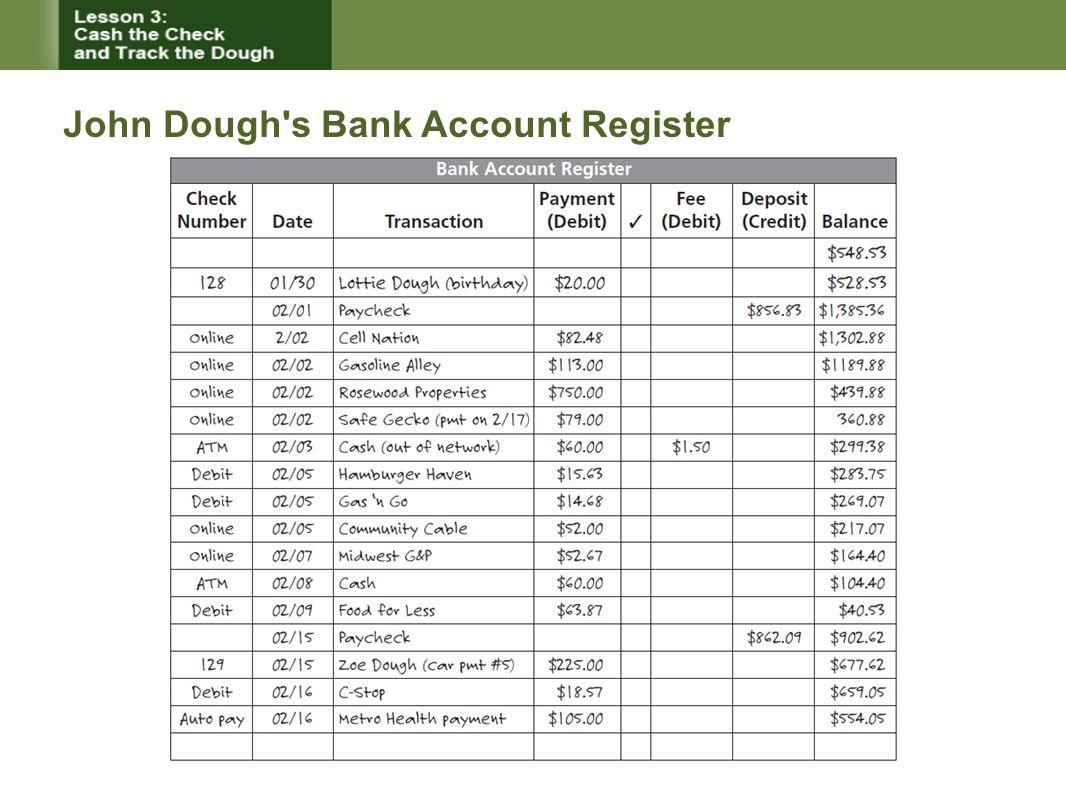 John Dough s Bank Account Register