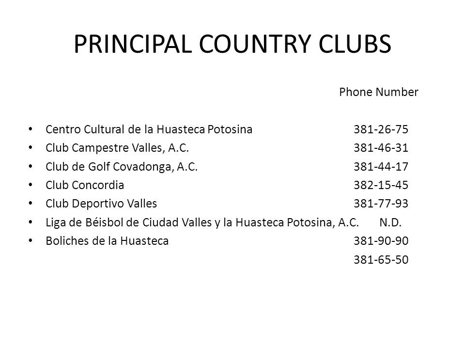 PRINCIPAL COUNTRY CLUBS
