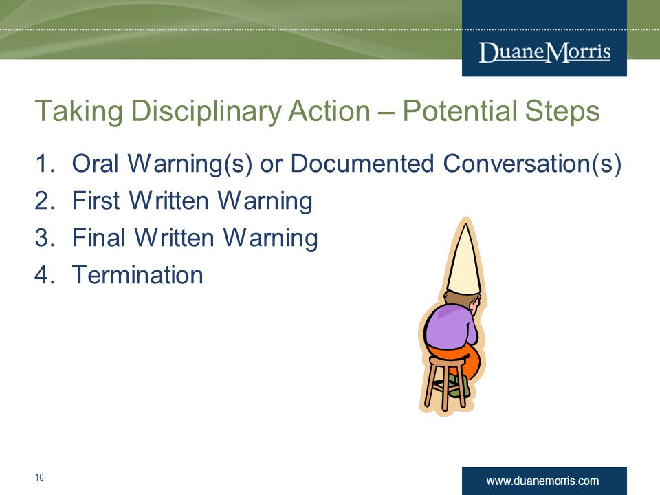 Taking Disciplinary Action – Potential Steps