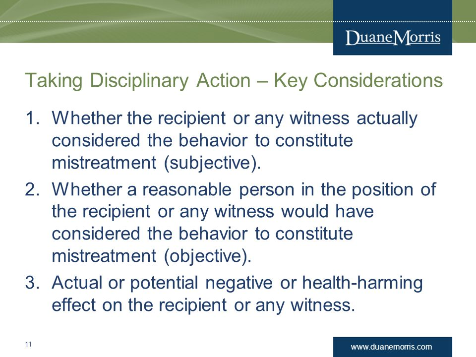 Taking Disciplinary Action – Key Considerations
