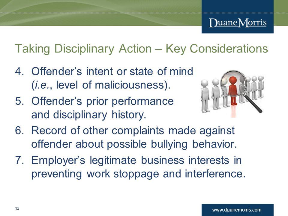 Taking Disciplinary Action – Key Considerations