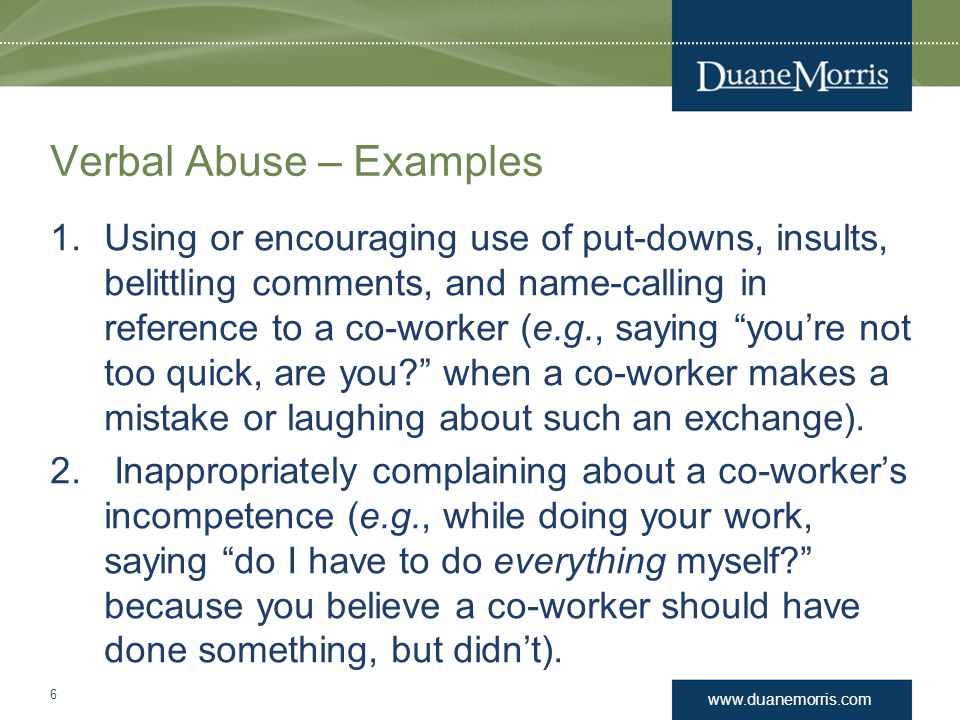 Verbal Abuse – Examples
