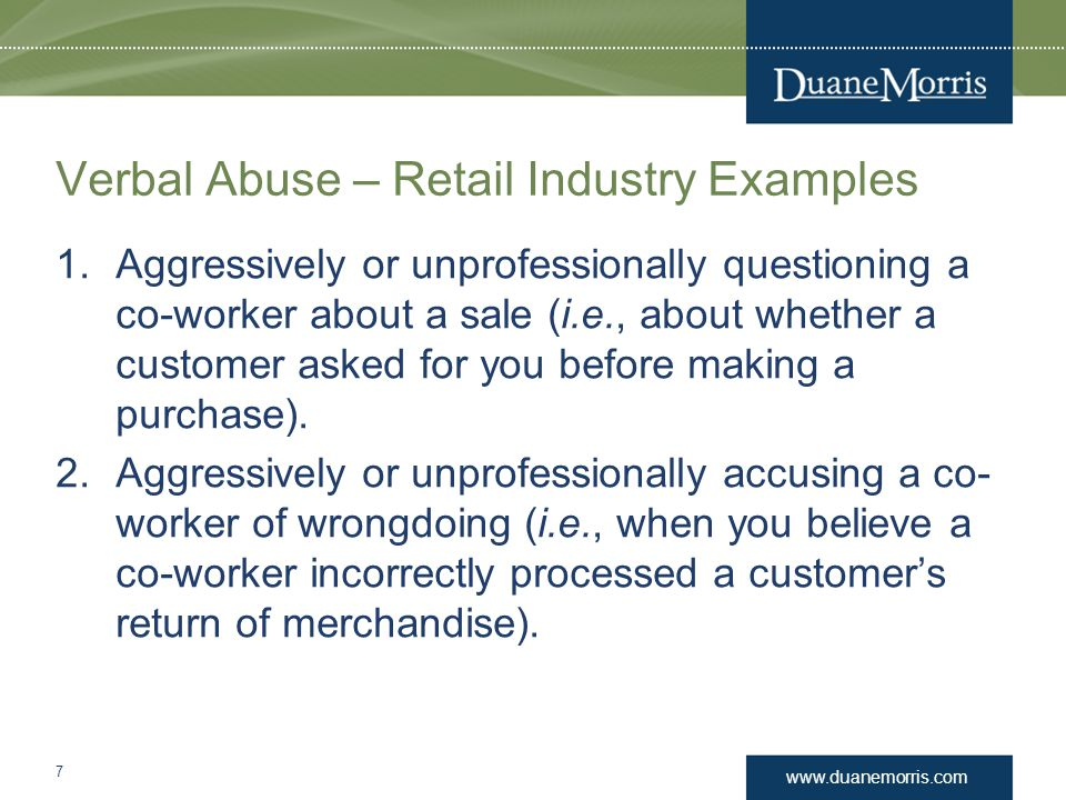 Verbal Abuse – Retail Industry Examples