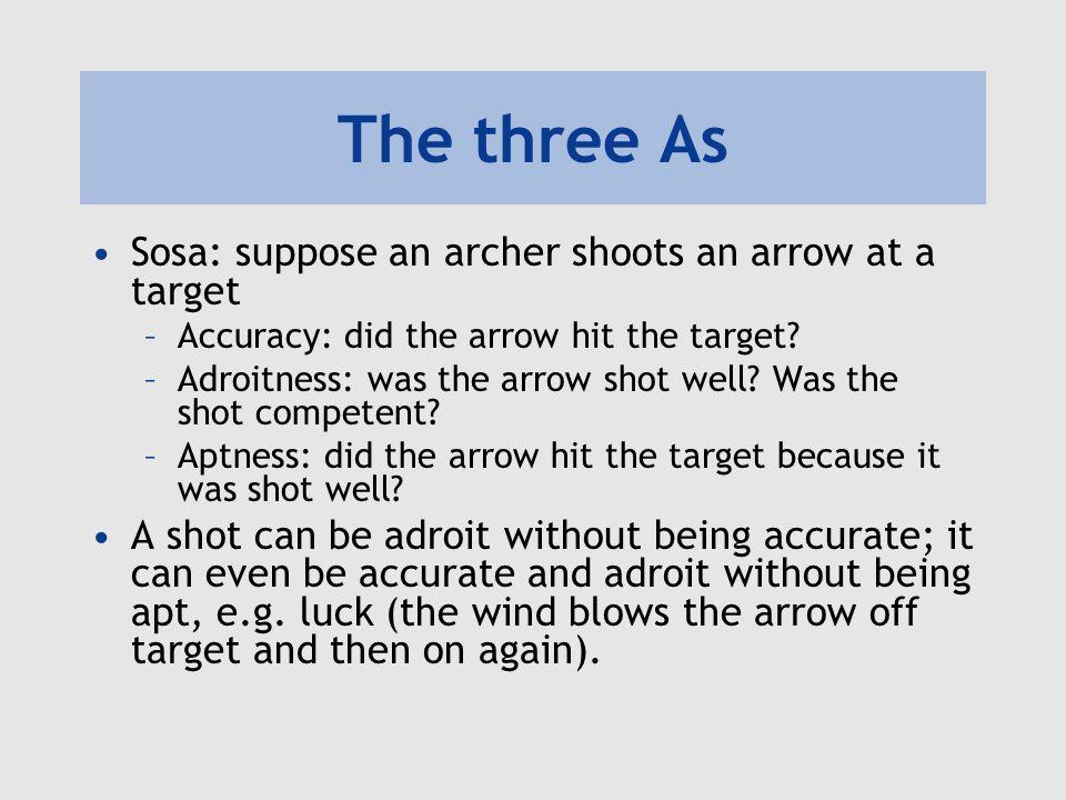 The three As Sosa: suppose an archer shoots an arrow at a target