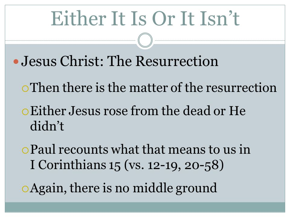 Either It Is Or It Isn't Jesus Christ: The Resurrection