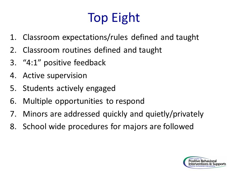 Top Eight Classroom expectations/rules defined and taught