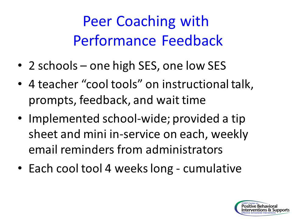 Peer Coaching with Performance Feedback