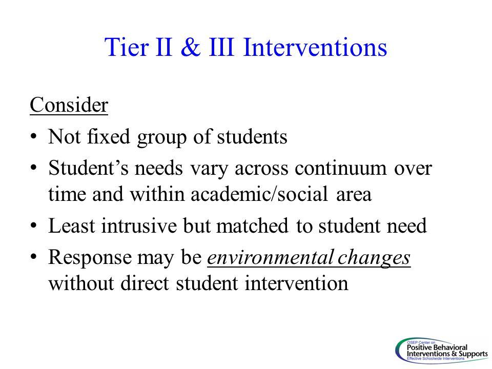 Tier II & III Interventions