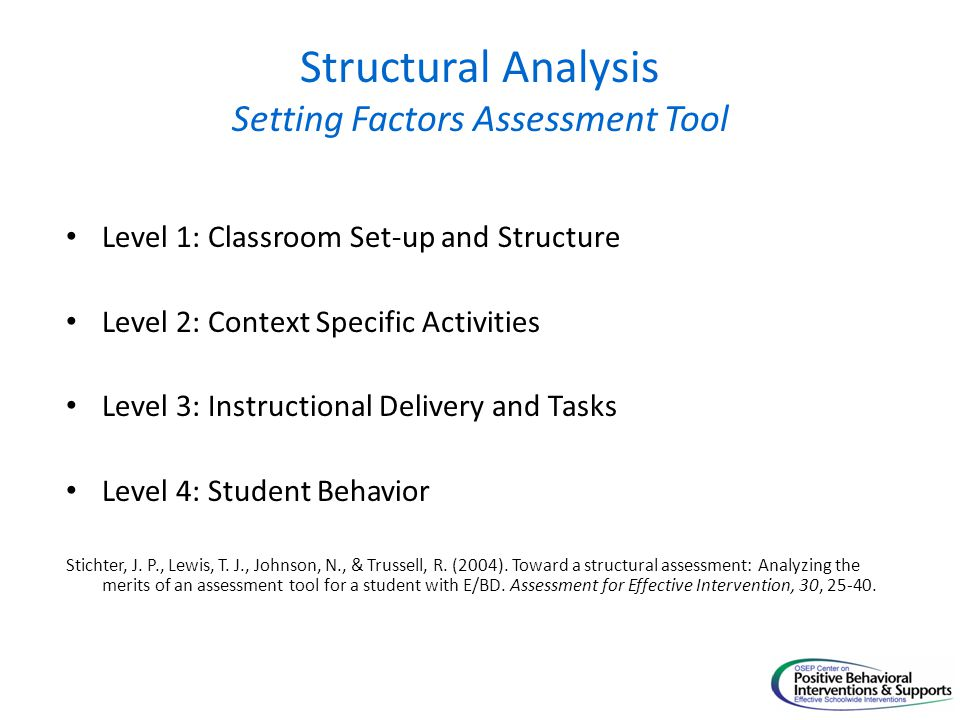 Structural Analysis Setting Factors Assessment Tool