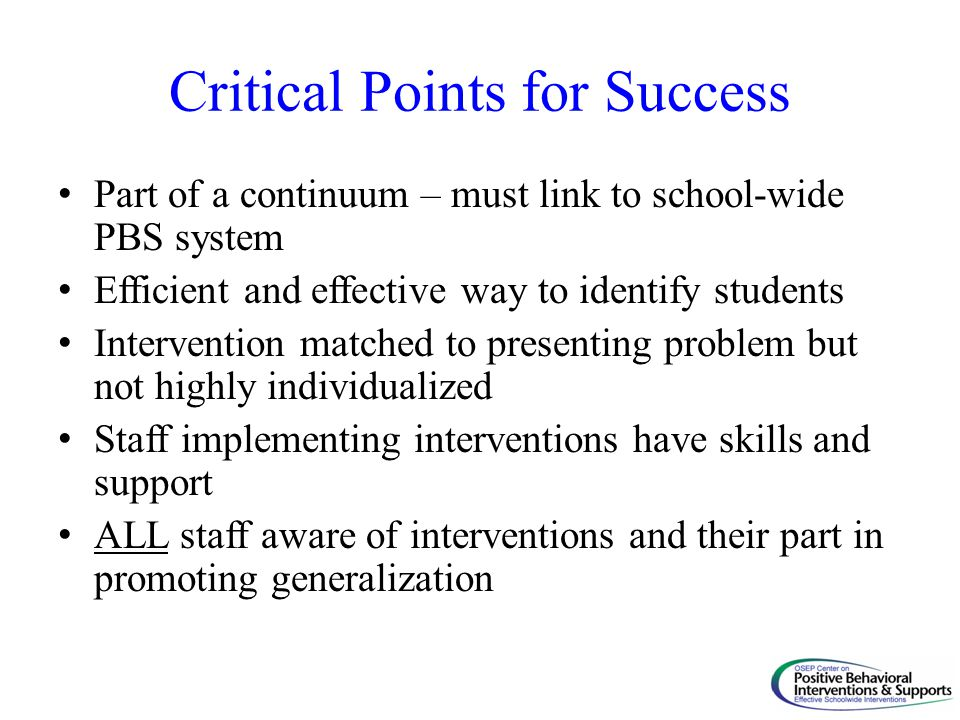 Critical Points for Success