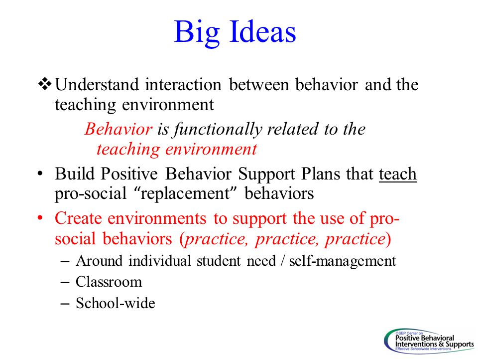 Big Ideas Understand interaction between behavior and the teaching environment. Behavior is functionally related to the teaching environment.